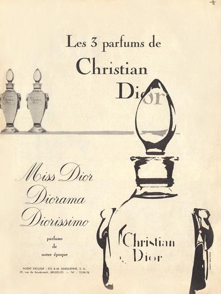 CHRISTIAN DIOR Diverse (Miss Dior - Diorama - Diorissimo) 1957 France 'Les 3 parfums de Christian Dior'