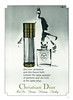CHRISTIAN DIOR Diverse (Miss Dior - Diorama - Diorissimo - Diorling) 1966 UK (with metallized golden ink) 'The new atomizeur and this flacon both contain the same quantity'<br /> <br /> ILLUSTRATOR: René Gruau