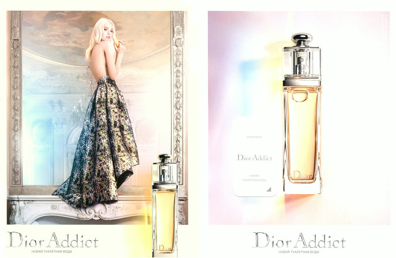 DIOR Addict 2014 Eau de Toilette 2014 Russia (recto-verso with scented sticker handbag size format) 'Новая туалетная вода -  Откройте'