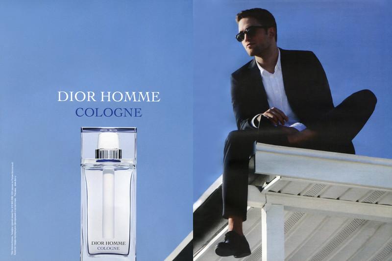 DIOR Homme Cologne 2014 Russia spread (handbag size format) 2 vertical lines in Russian<br /> <br /> MODEL: Robert Pattinson, PHOTO:  Nan Goldin