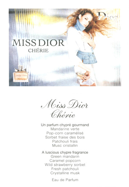 Miss DIOR Chérie 2005 France recto-verso card 7 x 9,5 cm 'Un parfum chypré gourmand'