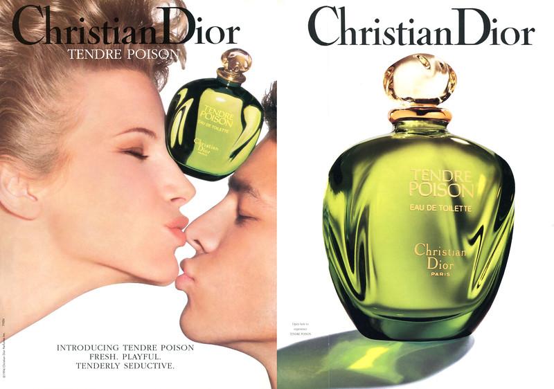 CHRISTIAN DIOR Tendre Poison 1994 US (recto-verso avec bande parfumée)<br /> <br /> MODELS: Laurence Vanhaeverbeke  & Paul Sculfor, PHOTO: Tyen