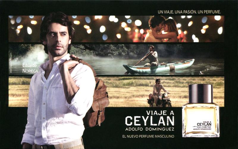 ADOLFO DOMÍNGUEZ Viaje a Ceylán 2015 Spain half page 'Un viaje. Una pasión .Un perfume. - El nuevo perfume masculino'