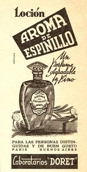 DORET Aroma de Espinillo 1948 Argentina (small format) 'Un perfume agradable y fino'