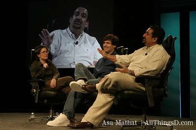Kara Swisher, Ted Leonsis and Mark Cuban live at D1 in 2003.