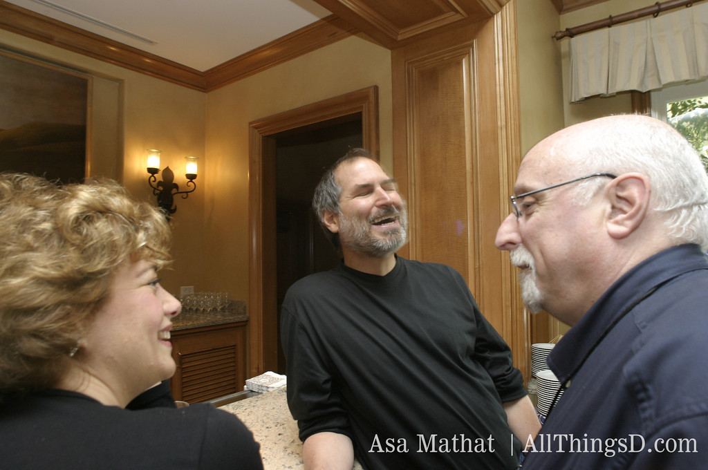 Hilary Rosen, former chief executive of the Recording Industry Association of America (RIAA) chats with Steve Jobs and Walt Mossberg at D1, 2003.