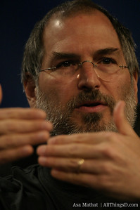 Classic hand poses from Apple CEO Steve Jobs at D1, 2003.