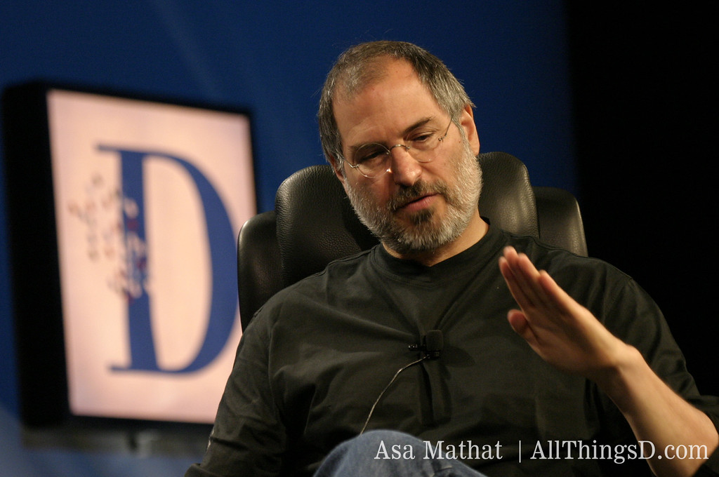 Apple CEO Steve Jobs onstage at D1 in 2003.