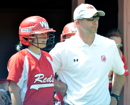 Cory Byknish/Herald West Middlesex Softball coach, Donatelli talks with Megan Hazlett.