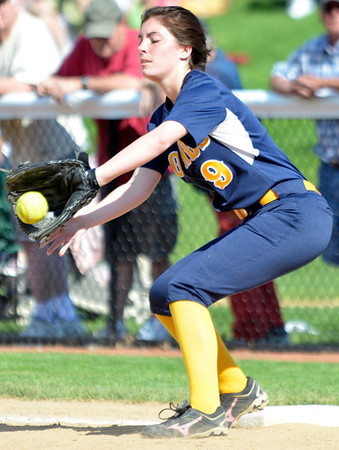 Cory Byknish/Herald<br /> Wilmingtons Ashley Houk makes the catch at first for an easy out.