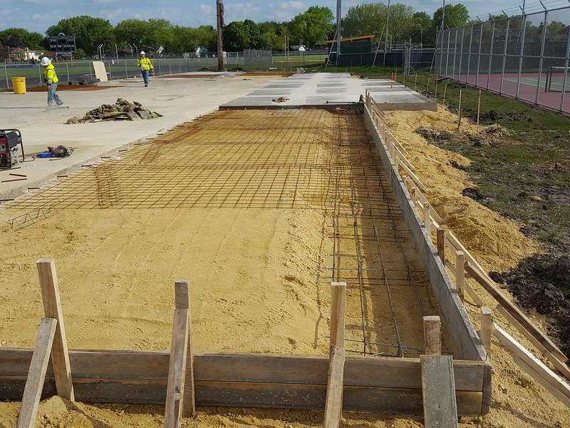 The beginning of the Crystal Lake South bleacher reconstruction