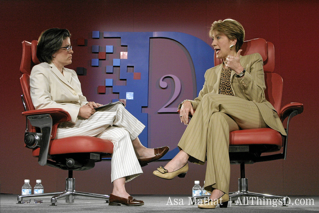 Kara interviews HP CEO Carly Fiorina at D2 in 2004.