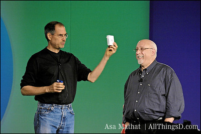 Steve Jobs discusses the Airport Express onstage at D2 in 2004.