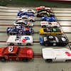 A field of 14 entries (note: GTP car shown is not eligible for this race). The Lola T-70 Can Am car on the red lane is not eligible for the podium since it does not have an approved interior, driver, windshield and number, but will be allowed to race today. Tim Herrera drove this new Lola today and it was very fast.