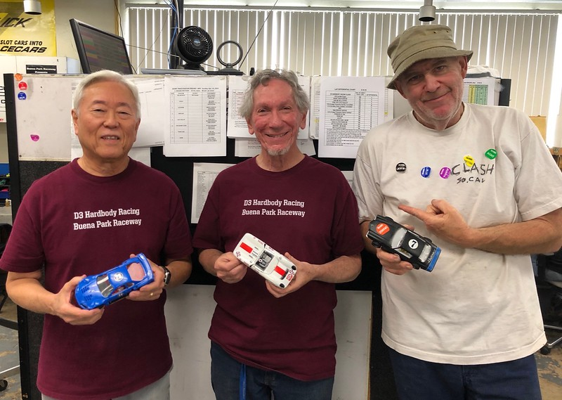 """""""Mixed"""" race """"Lap Differential"""" podium, L-R, Keith Tanaka 2nd (GTR), Eddie Shorer 1st (Can Am), Jim Lane 3rd (Short Track NASCAR)."""