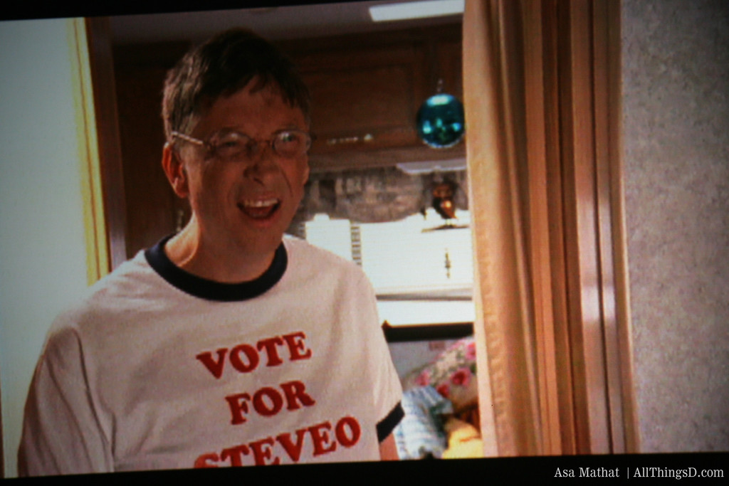 Vote for...Steveo? Gates hams it up in a spoof video shown at D3.