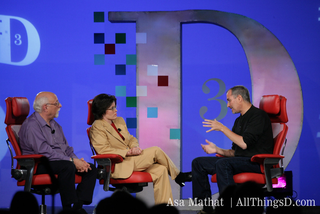 Walt and Kara interview Steve Jobs at the D3 conference in 2005.