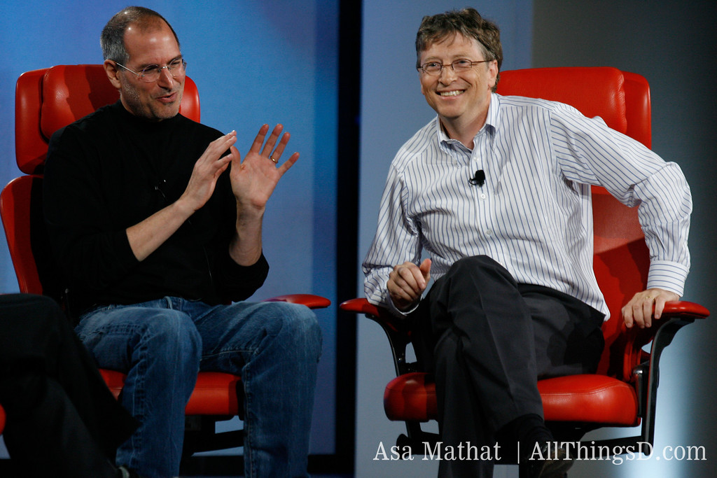 Historic moment: Steve Jobs and Bill Gates onstage together at D5.