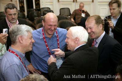 Answers.com CEO Bob Rosenschein, Microsoft CEO Steve Ballmer, Senator John McCain and Cisco CEO John Chambers.