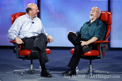 Engaged onstage: Steve Ballmer and Walt Mossberg.