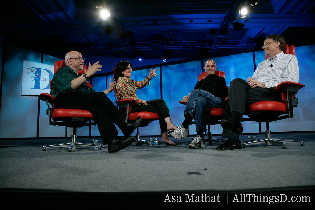 Walt Mossberg and Kara Swisher with Steve Jobs and Bill Gates at D5 in 2007.
