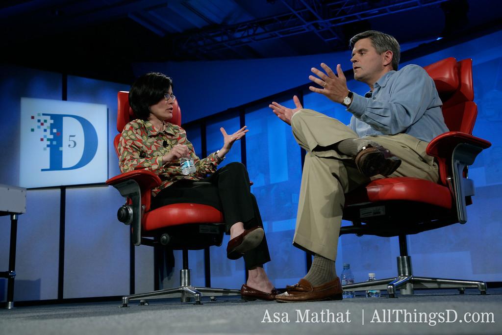 Kara Swisher and Steve Case debate at D5 in 2007.