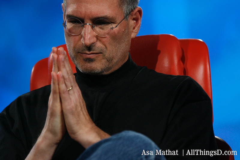 The classic Steve Jobs praying pose