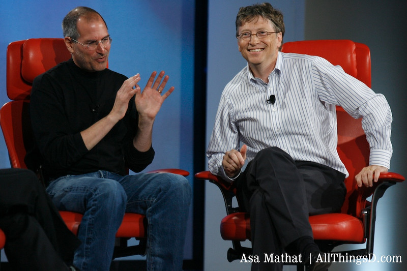 Steve Jobs and Bill Gates on stage together at D5