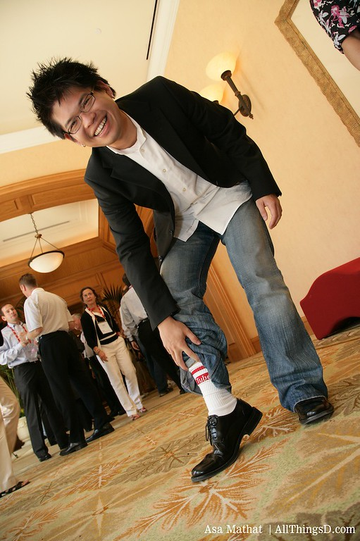 Steve Chen shows off his YouTube socks