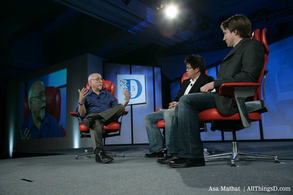 Chad Hurley and Steve Chen on the D5 stage with Walt Mossberg