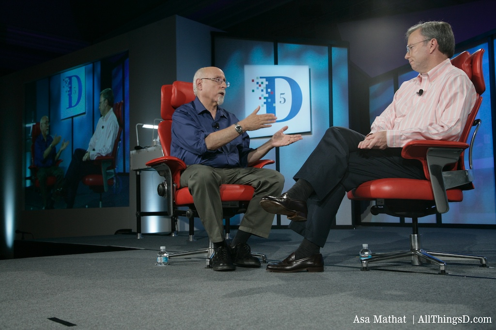 Walt and Eric Schmidt on stage at D5