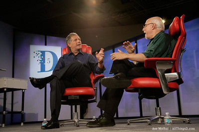 CBS President and CEO, Les Moonves, on stage with Walt Mossberg