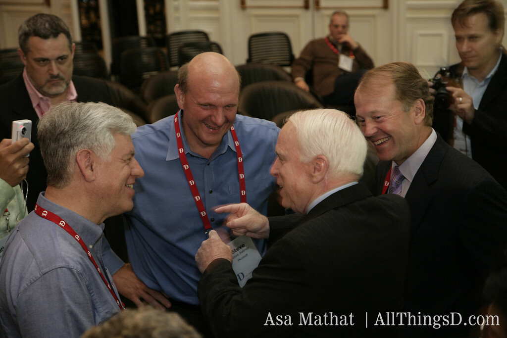 Steve Ballmer talking with John McCain and John Chambers at D5.