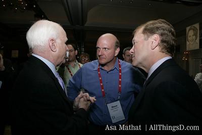 Sen. John McCain, Steve Ballmer and John Chambers at the D5 opening reception.