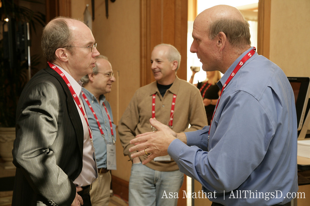 Microsoft's Steve Ballmer and WSJ's Alan Murray at the opening reception of D5 in 2007.