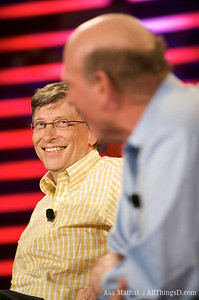 Bill Gates and Steve Ballmer onstage at D6 in 2008.