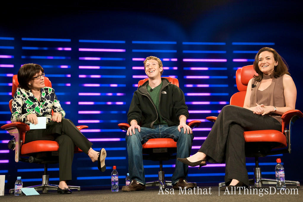 """""""If you give people control over their information, they're more willing to share it."""" Mark Zuckerberg and Sheryl Sandberg at D6 in 2008."""