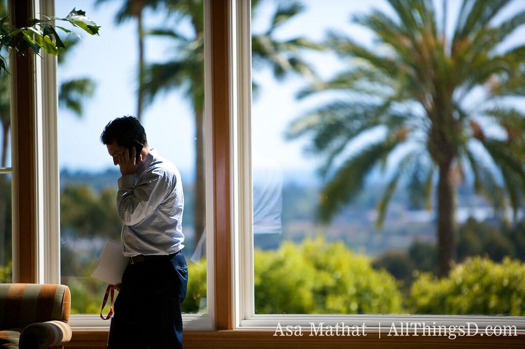 Making last minute calls at the Four Seasons Aviara in Carlsbad, California.