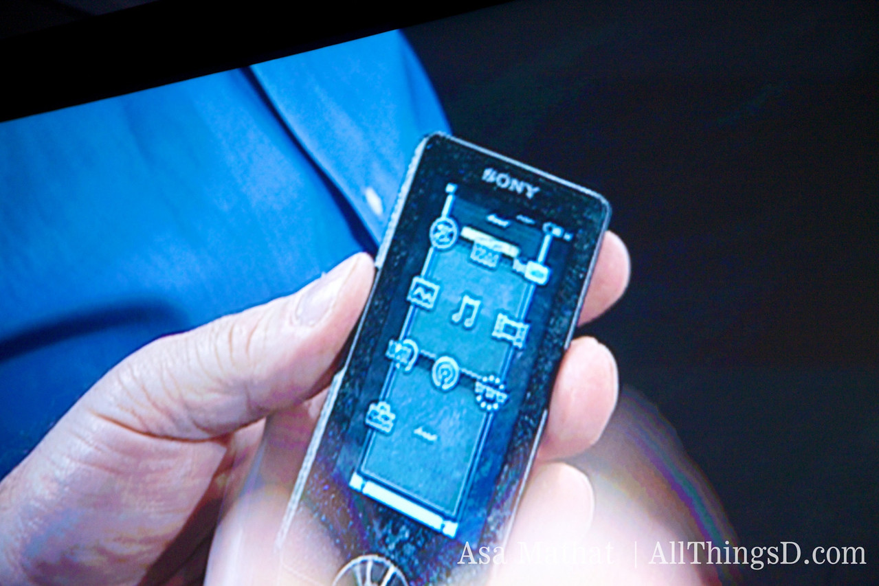Sony music player with an OLED screen.