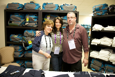 Lucky, Jennifer and Ed man the D7 Swag bag room.