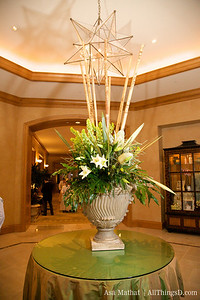 The floral arrangement outside of the Grand Ballroom.