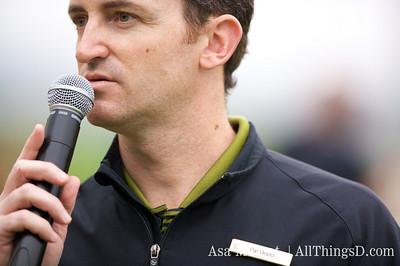 Golf pro Pat Roper kicks off the tournament.
