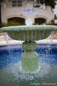Fountain outside the golf club.