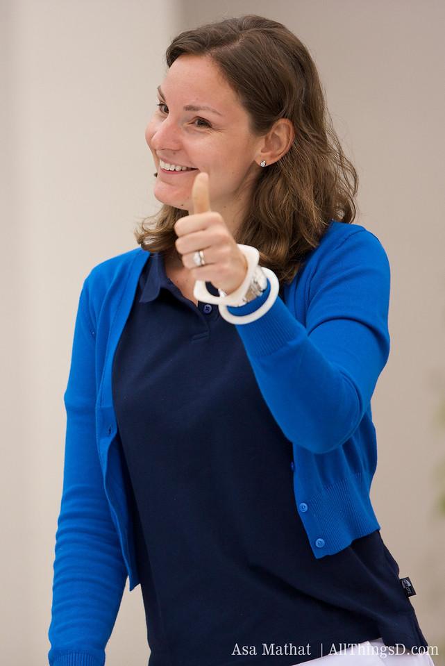 Christina Babbits, sales powerhouse for AllThingsD.com, kicks off the tournament.