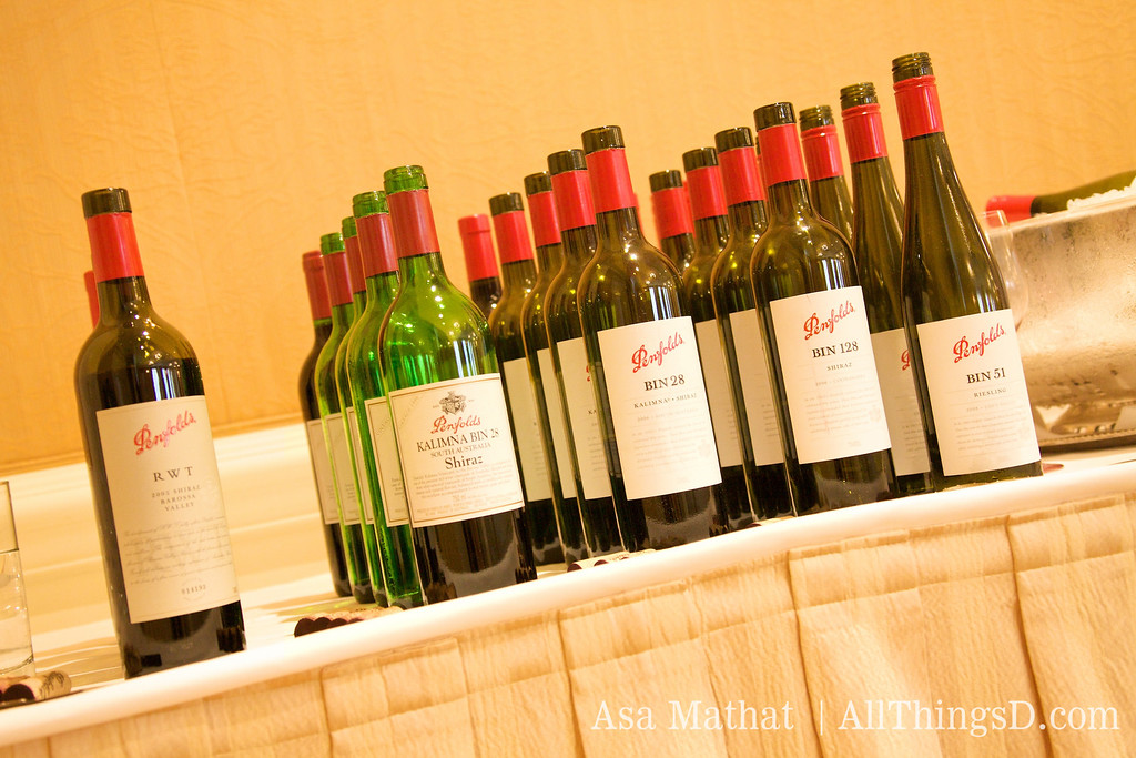 Bottles from the Penfolds winery.