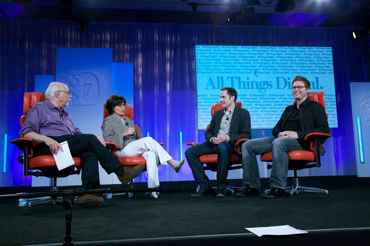 D7 co-executive producers Walt Mossberg and Kara Swisher interview Twitter founders Evan Williams and Biz Stone.