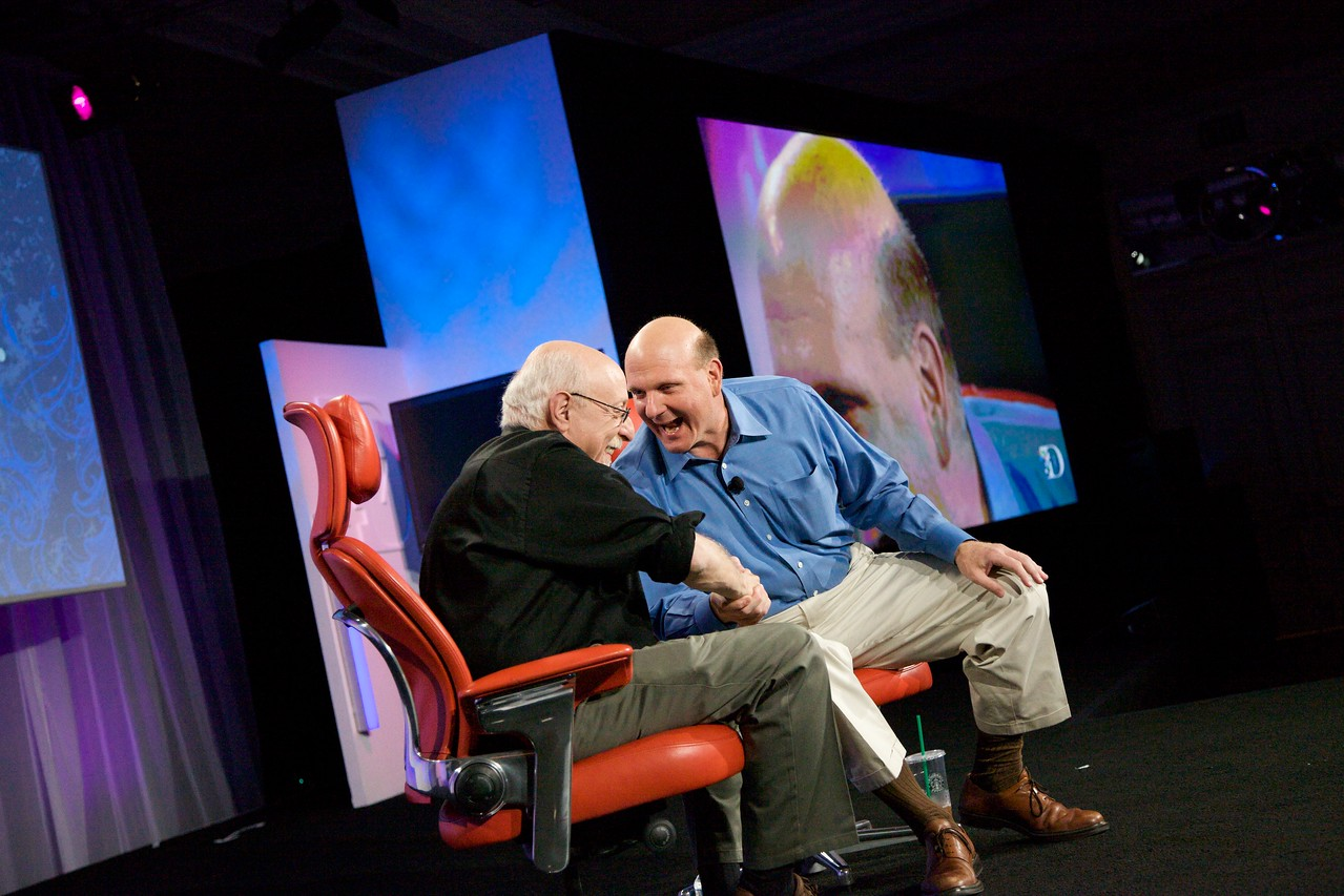 Steve Ballmer gets Walt Mossberg to laugh by saying bing over and over.