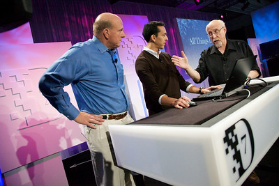 Microsoft's CEO Steve Ballmer and Yusuf Mehdi, Senior Vice President for the Online Audience Business Group, demo the Bing search engine for Walt Mossberg at D7.