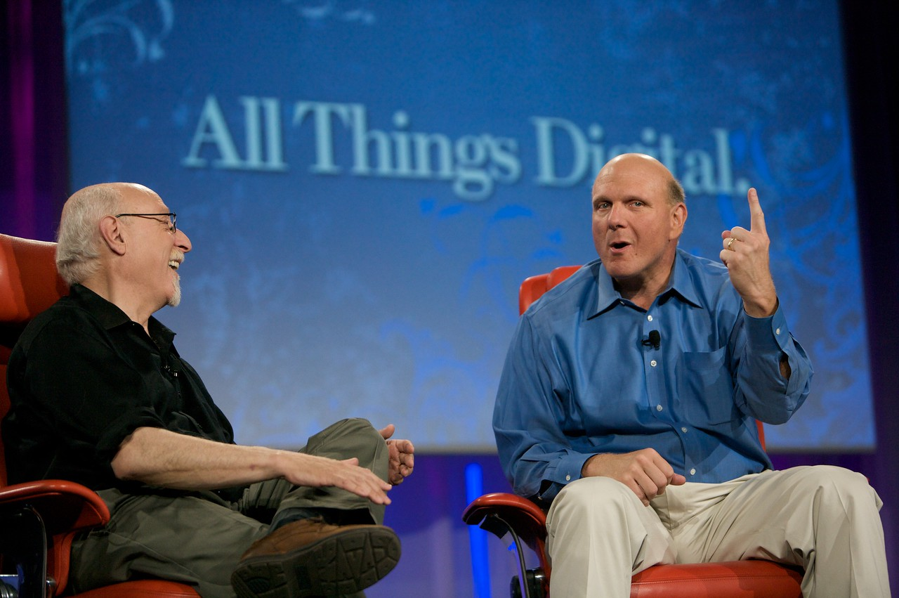 Steve Ballmer gets serious at D7, onstage with Walt Mossberg.