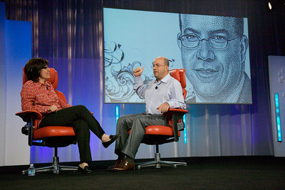 Jeff Zucker, President and CEO of NBC Universal onstage at D7, with WSJ dot drawing behind him.